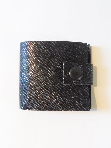 ync by nny Smallest Minimalist Unisex Leather Cash Wallet for US Dollars iridescent black lizard