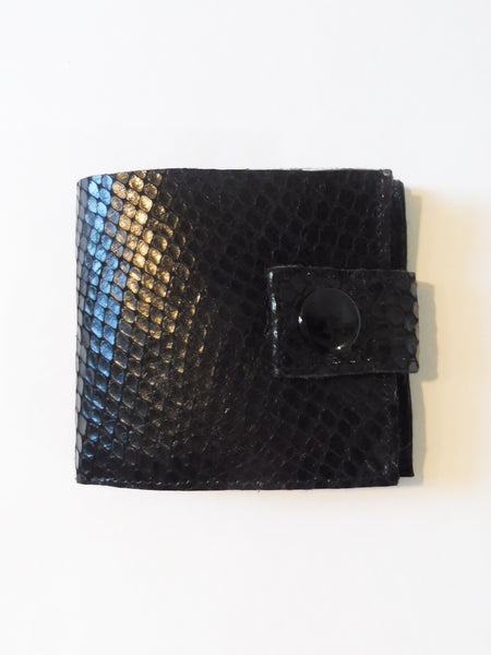 Black python cut calf skin Smallest Minimalist Unisex Leather Cash Wallet for US Dollars bills and change by Yn Couture by Nana N Yoshida