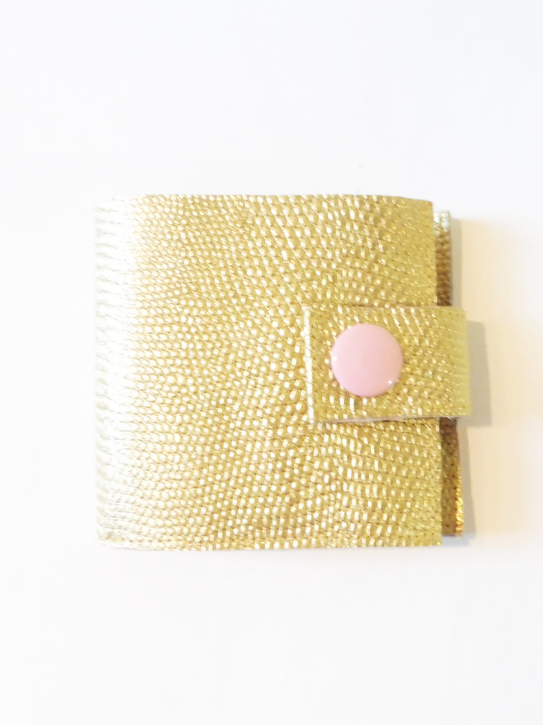 ync by nny Smallest Minimalist Unisex Leather Cash Wallet for US Dollars gold lizard embossed leather Yn Couture by Nana N Yoshida