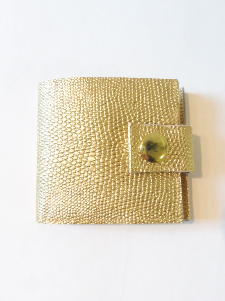 ync by nny Smallest Minimalist Unisex Leather Cash Wallet for US Dollars made with Sniny Gold lizard embossed leather Yn Couture by Nana N Yoshida