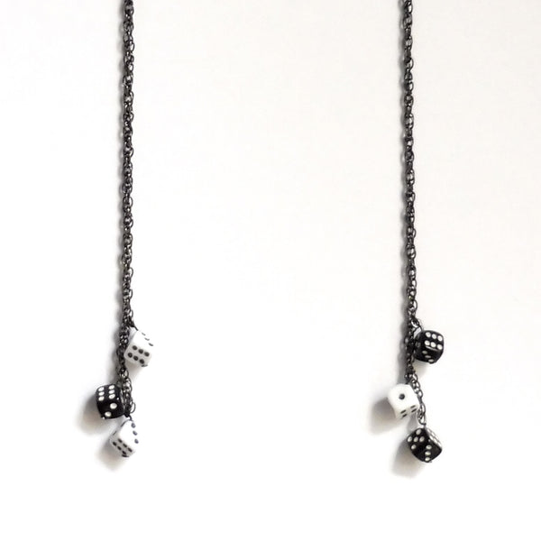 Tiny triple dices long chain gunmetal earrings. Set of two. by Nana N Yoshida of Yn Couture. ync by nny.