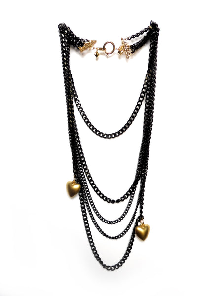 Light weight black quin chain necklace made with almanite with two matte-finish gold heart charms. ync by nny. Yn Couture by Nana N Yoshida.