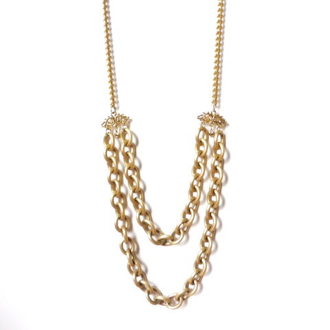 Yn Couture 36-inch long matte gold double-bottom chain necklace made with light weight metal called almanite. Gothic Brand New Romantics. Ync by nny. Nana N Yoshida
