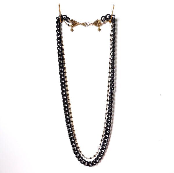 Masculine Feminine Long double chain necklace chunky black metal armanite and 24K gold-plated chain with inset stones. Gothic and New Romantics by Yn Couture by Nana N Yoshida. Ync by nny.