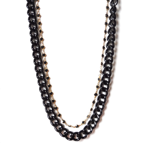 Masculine Feminine Long double chain necklace chunky black metal armanite and 24K gold-plated chain with inset stones. Gothic and New Romantics by Yn Couture by Nana N Yoshida. Ync by nny. Close-up.
