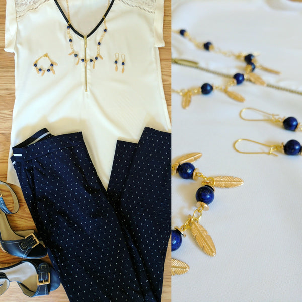 Work outfit Lapis Lazuli Jewelry set necklace bracelet earrings