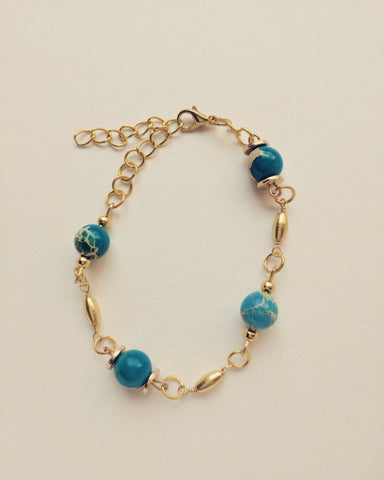 Bracelet Gold Plated Rice Natural Blue Turquoise 8mm - B800019