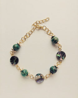 Bracelet Gold Plated Natural Abalone and Green Turquoise 8mm - B800018