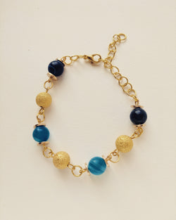 Bracelet Gold Plated Natural Blue Agate 8mm - B800001