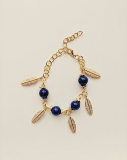 Bracelet Gold Plated Leafs Natural Lapis Lazuli 8mm - B800017