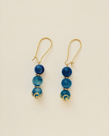 Earrings Gold Plated Natural Blue Agate 8mm - E4000017