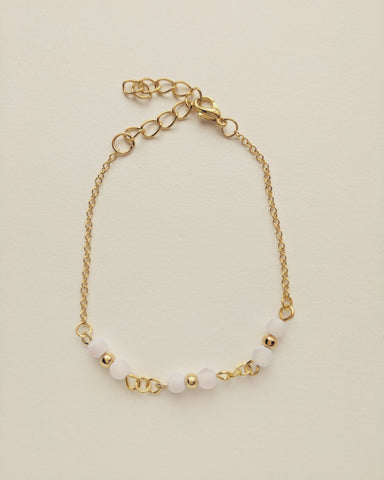Bracelet Gold Plated Natural White Agate 4mm - B400005
