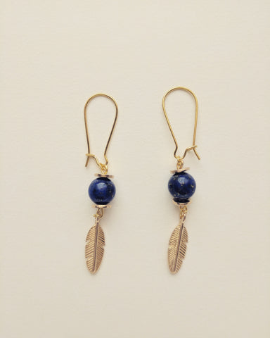 Earrings Gold Plated Leafs Natural Lapis Lazuli 8mm - E8000024