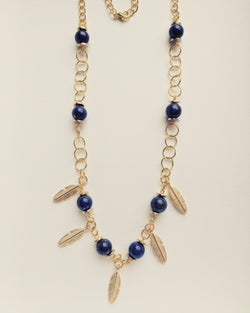 Necklace Gold Plated Feather Natural Lapis Lazuli 8mm - N800027