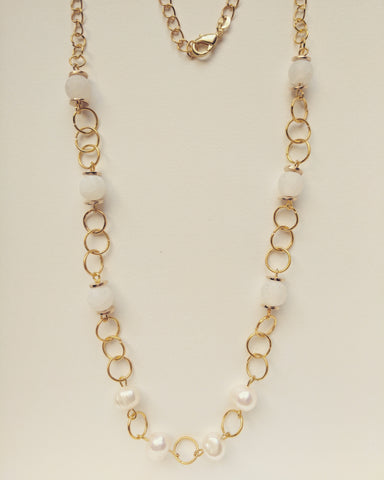 Necklace Gold Plated Natural Pearls and White Agate 8mm - N800022