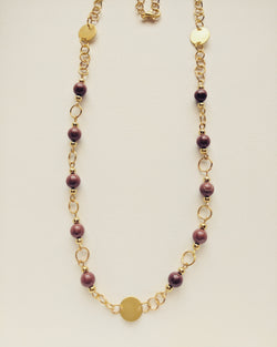Necklace Gold Plated Disc Natural Red Jasper 6mm - N600030