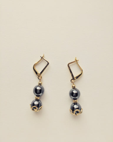 Earrings Gold Plated Natural Hematite 8mm - E8000023