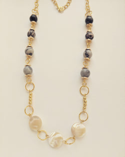 Necklace Gold Plated Natural Seashell and Zebra Stone 8mm - N800025