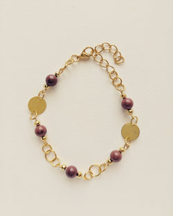 Bracelet Gold Plated Disc Natural Red Jasper 6mm - B600020