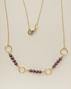 Necklace Long Chain Gold Plated Hoop Natural Red Jasper 4mm - N400016