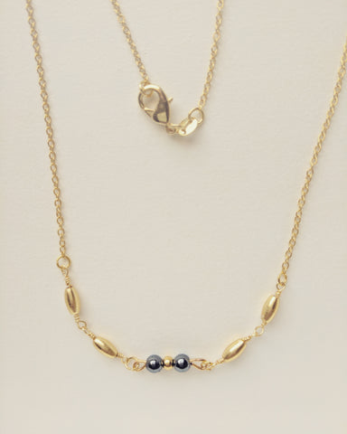Necklace Gold Plated Rice Natural Hematite 4mm - N400005