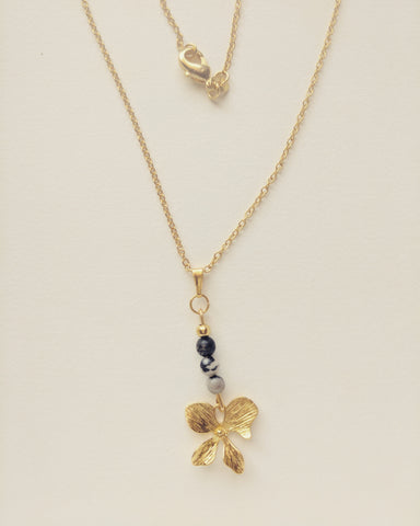 Necklace Gold Plated Orchid Natural Zebra Stone 4mm - N400011