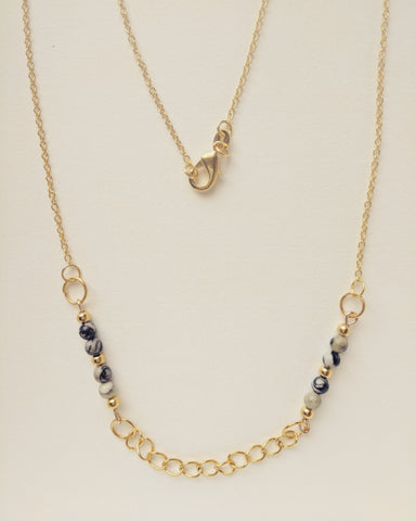 Necklace Long Chain Gold Plated Hoops Natural Zebra Stone 4mm - N400012