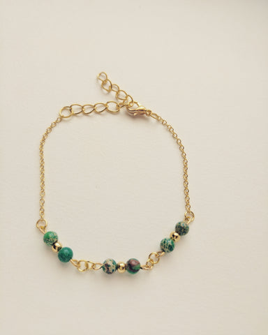 Bracelet Gold Plated Natural Green Turquoise 4mm - B400003
