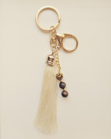 Purse Accessory / Keychain Creamy Tassel and Natural Tiger Eye 8mm - K800007