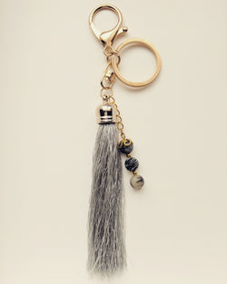 Purse Accessory / Keychain Grey Tassel and Natural Zebra Stone 8mm - K800001