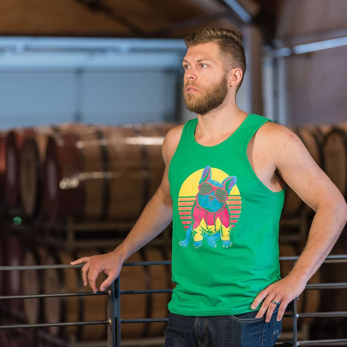 Frenchie Sunset Men's Tank - Barrel Dogs