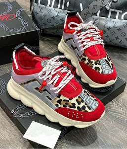 VERSACE CHAIN REACTION ANIMAL PRINT RED