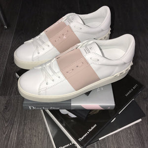 VALENTINO COLOUR STRAP LOW TOP WHITE/BABY PINK WOMENS