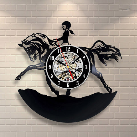 Vinyl Wall Clock Horsewoman