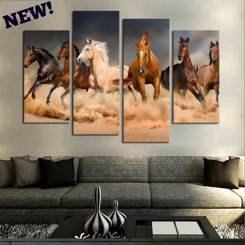 Running  Horses  4 Piece Modern Canvas Art