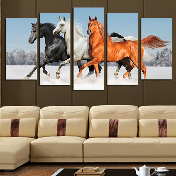 Three Horses Running In The Snow 5 Piece Wall Art Canvas Print