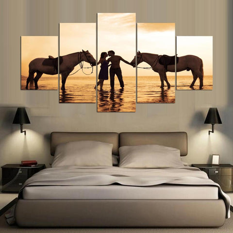 Couple with Horses  5 Piece Romantic Wall Art Canvas Print