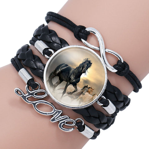 Horse Love Leather Infinity Wrap Bracelet