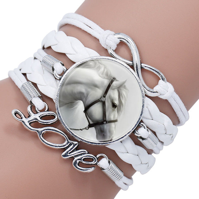 Horsy Gifts: Horse Love Leather Infinity Wrap Bracelet