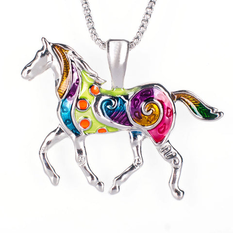 Colorful Ethnic Horse Necklace