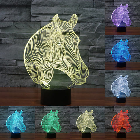 Horse Head 3D LED Night Lamp