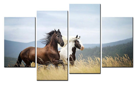 Two Running Horses 4 Pieces Wall Canvas, Modern Home Decoration