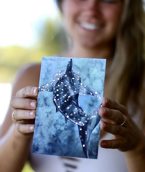 Whale Shark- Gold Embossed Postcard - Wanderlust + Wildhearts