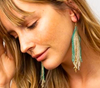 Luxe Ombre Fringe Earrings- Ivory/Teal