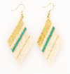Luxe Diamond Earrings- Teal/Gold/Ivory
