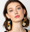 Peacock/Citron/Rust Fringe Earrings
