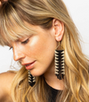 Black/Ivory Arrow Fringe Earrings