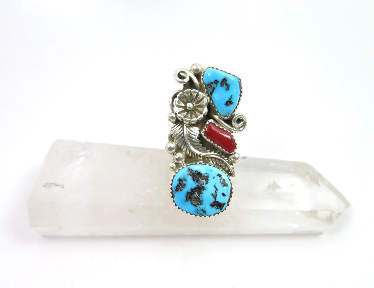 Coral/Turquoise Shield Ring - Wanderlust + Wildhearts