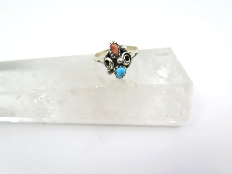 Petit Turquoise and Coral Ring - Wanderlust + Wildhearts