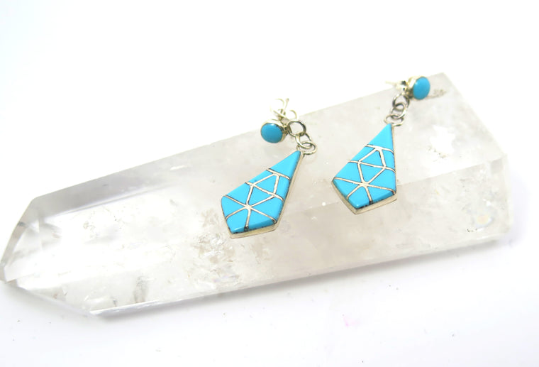 Deco Turquoise Inlay Drop Earrings - Wanderlust + Wildhearts